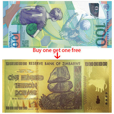 Russia 100 Rubles, FIFA World Cup, 2018, Get one free Zimbabwe 100 Trillion,UNC