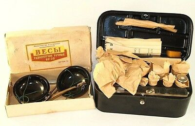 Vintage Collectible Russian USSR Jewelry Scale Weights In Original Wooden Box