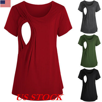 1cca0bae8 US Women Maternity Breastfeeding Tee Nursing Tops Solid Short Sleeve T-shirt  New
