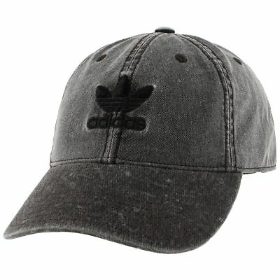 Adidas Originals Relaxed Strapback Men s Cap Baseball Hat Black Denim CI7677 554899924ce6