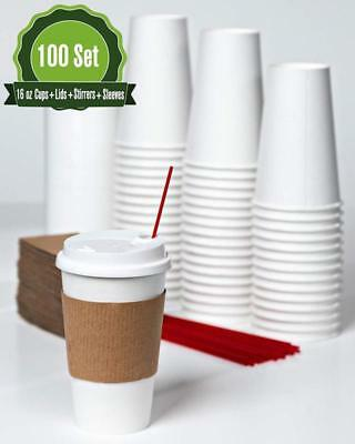 Hot White Paper Cups, Lids, Stirrer, And Sleeves 16 Oz -100 Set - Disposable Pap