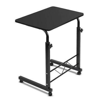 Mobile Laptop Study Desk Stand Adjustable Portable Bedside Wooden Table - Black
