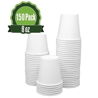 Hot White Paper Cups 8 Oz - 150 Count - Disposable Paper Cups For Coffee, Tea, H