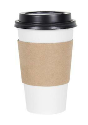 Cucina White Paper Coffee Hot Cups With Black Travel Lids And Sleeves - 16 Oz, 1