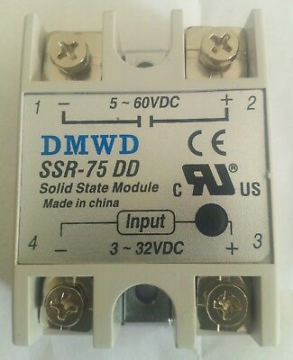 UK stocked Solid state relay 75amp 3-32 VDC to 5-60 VDC DC SSR-75 Low voltage DC