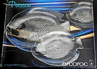 SET of 7vntg FRENCH ARCOROC POISSON GLASS PLATES FISH COURSE STARTER SUSHI boxed