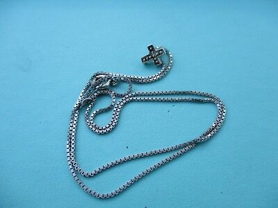 Vintage sterling silver tiny cross necklace 16inches