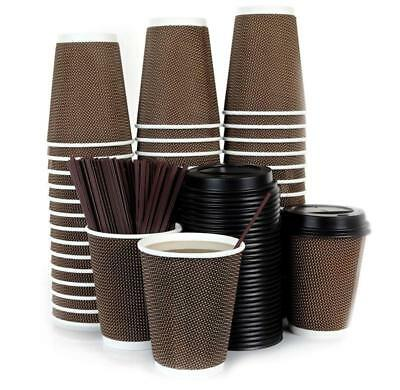 120 Count - 12Oz Disposable Paper Hot Coffee Cups With Lids And Stirring Straws