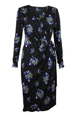 New With Tags Oasis NHM Sleeveless Black Floral Wrap Ruffle Dress Sizes XS L