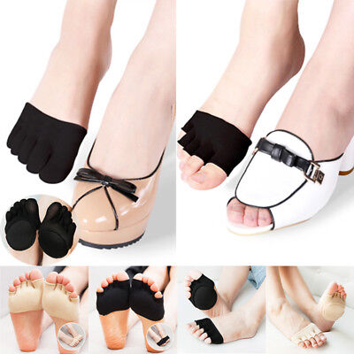 Women Yoga Forefoot Cover Pad Cotton Toe Sock Half Grip Heel Five Finger Socks