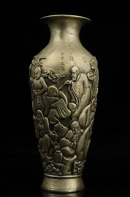 Old china handmade eighteen arhats copper plating silver vase e02