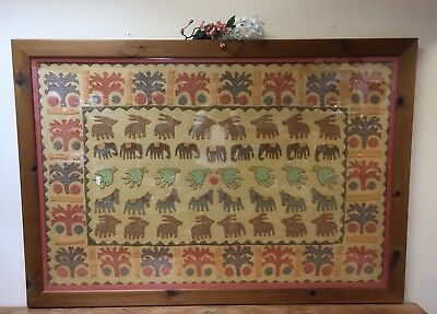 Large Pine Framed Folk Art Tapestry Style Wall Hanging Statement Design Piece