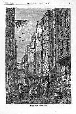 Field Lane.1840.Holborn.Printed in 1879.Old & New London.Antique print