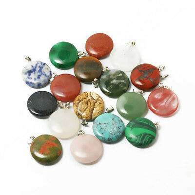 Natural Flat Round Stone beads Charms Pendants 20mm many style U-pick for DIY Fa