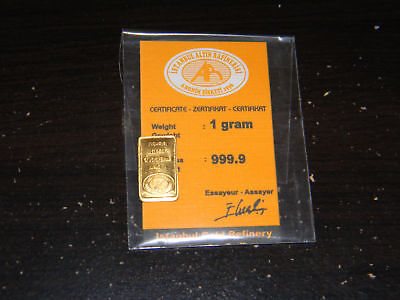 One Gram, 999.9 Fine Gold Bar. Istanbul Refinery With Card. No Reserve.
