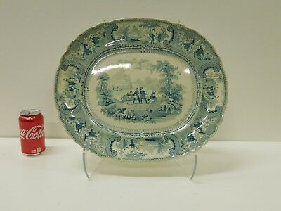 MASSIVE Antique Green Staffordshire Transferware EWS Belzoni Historical Platter
