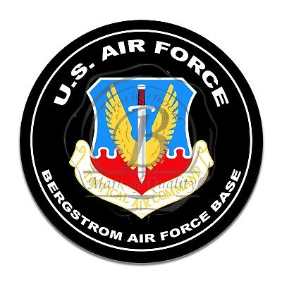 United States Air Force Tactical Air Command Bergstrom AFB Round Aluminum Sign