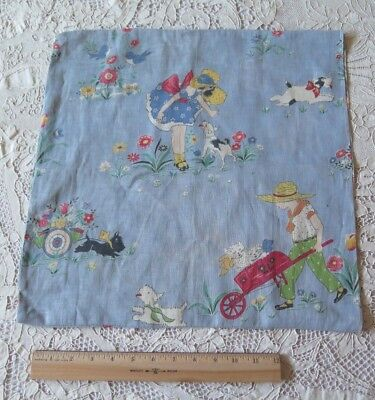 """Vintage 1930 Children,Dogs & Cats in Garden Novelty Print Pillow Case~17"""" Square"""