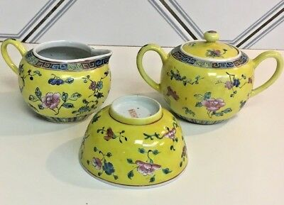 Antique Chinese Export Stunning YELLOW+ flowers hand painted porcelain set 3 pc