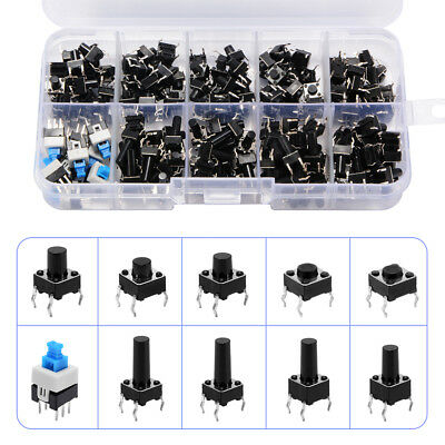 180x 4 Pin Tactile Push Button Switch Micro Momentary Tact Assortment Kit TE948