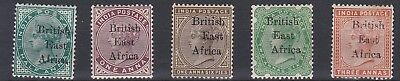 British East Africa  1895  S G 49 - 54  Various Values To 3A Mh Odd Tone Spot
