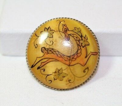 Vintage Round Brooch Sterling Silver Rim Art Nouveau Gold Deer possibly Bakelite