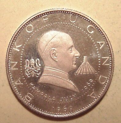Uganda ★★★ 2 Shillings 1969 Papstbesuch  ★★★ 220  Silber