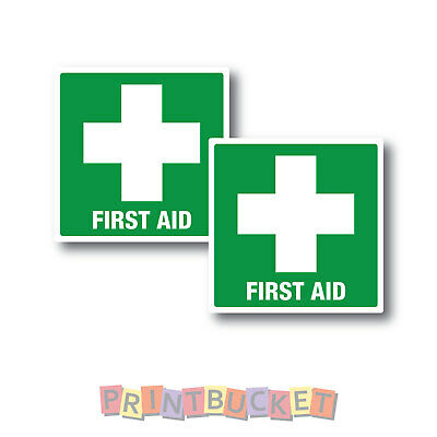 Small First Aid stickers 60mm x 60mm twin pack quality water/fade proof vinyl