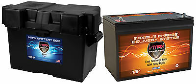 VMAX V30-800 12V 30Ah AGM BATTERY BC1204 CASE for 24lb trolling motors