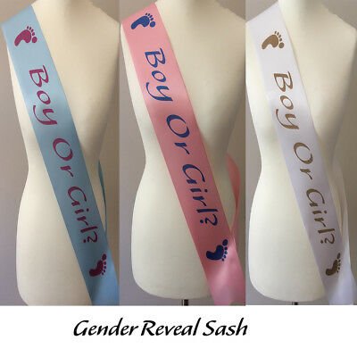 Gender Reveal sash Boy or Girl ? Baby shower sash Pink Blue White mummy to be