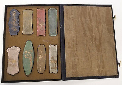 Chinese Ink Stones Original Box Signed Gilded Calligraphy Tools Inkstick
