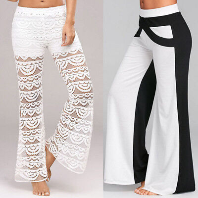 Women Lace Bell Bottoms Flare Trousers Mid Waisted Wide Leg Long Yoga Loose Pant
