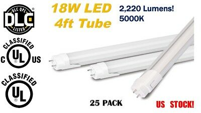 4ft LED Tube 25 Pack 18W  Single-end/Double-end   T8 5000K DLC Approved