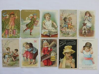 Lot of 10 Vintage Advertising Trade Cards Pearline Soap Parker's Ginger Tonic