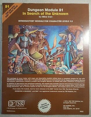 D&D Dungeon Module B1 - In Search Of The Unknown - Mike Carr - TSR 9023