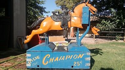 "Coin Operated Kiddie Horse Ride "" the Champion"" Gene Autry Vintage"