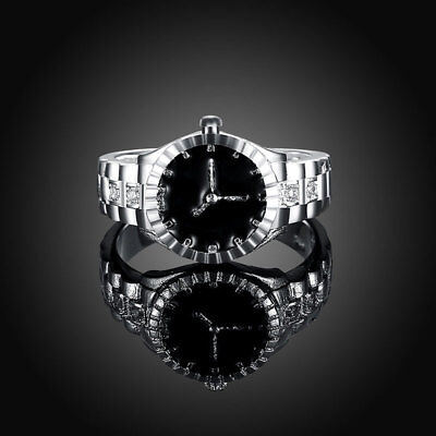 Creative Women Quartz 925 Silver Finger Ring Watch Alloy Personality Gift CA12