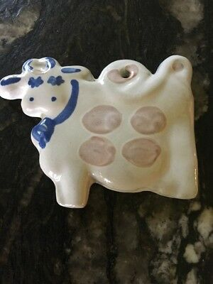 MA Hadley cow Christmas tree ornament art pottery ceramic