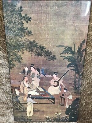 Vintage Chinese Scroll Painting Laminated To Wood By Li-sung Sung Dynasty