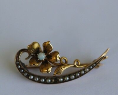 Antique Victorian 10k Yellow Gold Opal & Seed Pearl Flower Brooch Pin