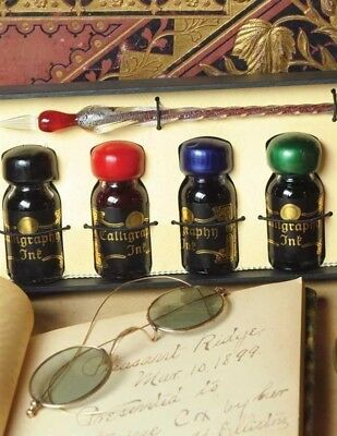 Victorian Trading Co Glass Calligraphy Pen & 4 Colored Ink Bottles Giftboxed