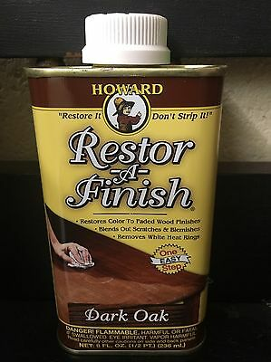 NEW HOWARD RESTOR-A-FINISH Dark Oak Wood Furniture Restorer 8 oz