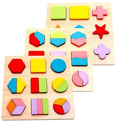 INTELLITOYZ Large Geometric Shape Sorting Wooden Puzzles, Set of 3 READ