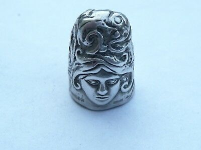 Superb And Rare Vintage Solid Hallmarked Silver Art Nouveau Lady Thimble
