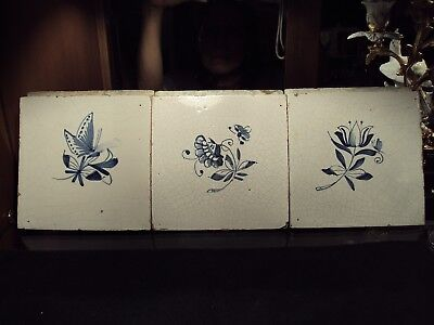 18th Century Dutch Delft Tiles (3) Flowers with Bee & Butterflies /Netherlands