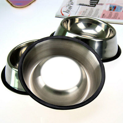 15CM Stainless Steel Pet Dog Anti-Slip Feeding Feeder Food Water Bowl Dish 1F7F
