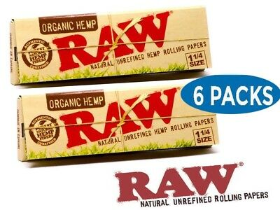 RAW Organic 1 1/4 Rolling Paper - 6 PACKS - 1.25 Natural Cigarette Papers