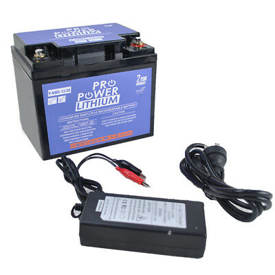 Pro Power 12V Volt 50ah Lithium Ion Deep Cycle Battery & Charger Solar Camping
