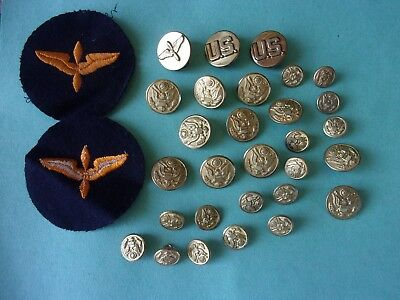 Lot Ww2 Us Military Buttons Patches Collar Insignias Army Air Corps World War 2