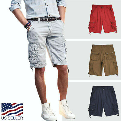 Mens Twil Cargo Shorts Casual Pants 30 44 Multi Pocket Loose Fit Outdoor Camping